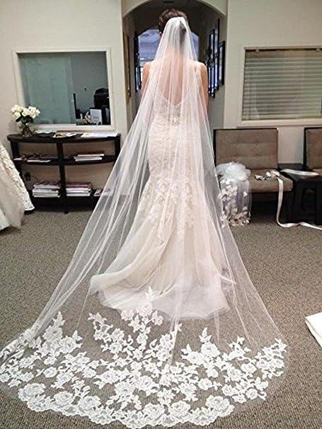 Amazon.com: WAJY White Ivory Lace Edge Cathedral Length Wedding ...