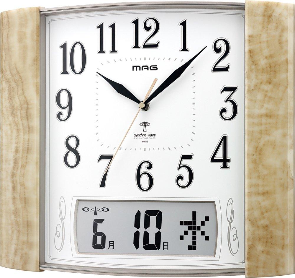 MAG(マグ) 電波壁掛け時計 マーブルック アナログ表示 石目イエロー W-652SFY B014SPU40S