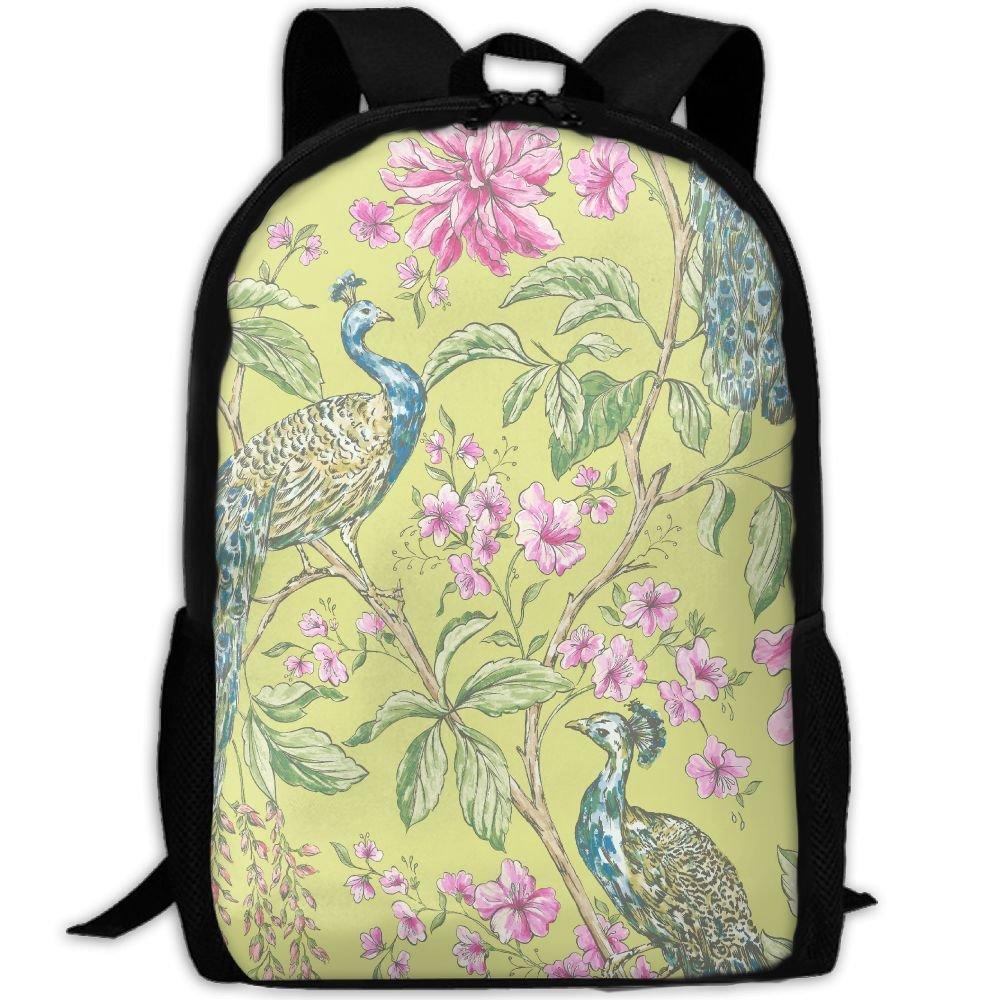 OIlXKV Peacock And Flowers Print Custom Casual School Bag Backpack Multipurpose Travel Daypack For Adult