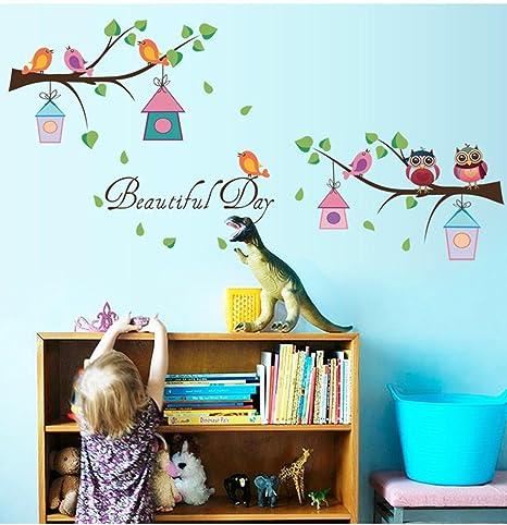 bibitime Cartoon Búhos en el árbol ramas pared vinilo diciendo ...