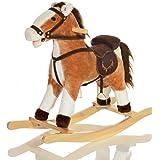 Grande Peluche Cavallo a Dondolo bambini GRANDOR giocattolo con rumori galoppo ed effetti sonori - Marrone/Bianco