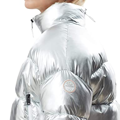 NAPAPIJRI Piumino donna boxy in nylon argento