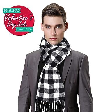 7c7c47e3b961 Jorlyen Echarpe Homme - Plus Douce que le Cachemire Wool Touch - Echarpe  Tartan Homme Femme
