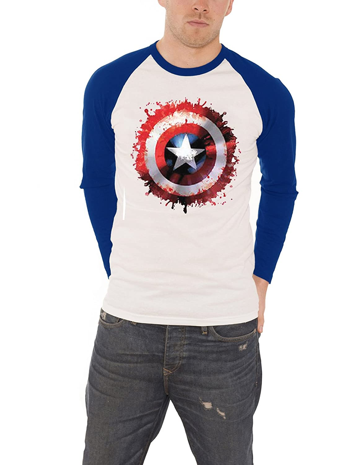 Marvel Comics Captain America Splat Shield Raglan Baseball