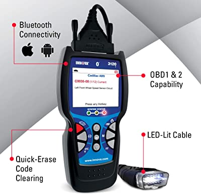 function INNOVA 3120f Bluetooth Diagnostic Scanner – ABS Scan Tool, Battery Reset and Oil Reset for OBD1, OBD2, JOBD, and EOBD Vehicles