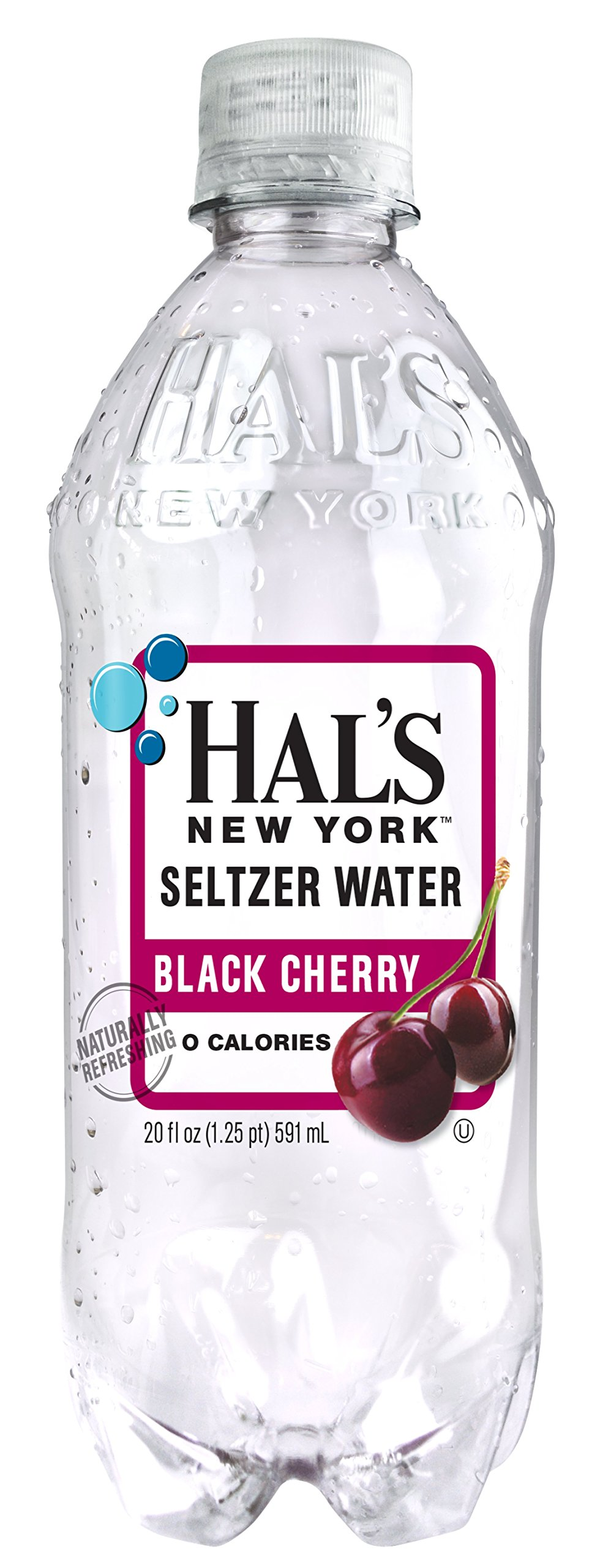 Hal's NY Seltzer Water 20 Oz Bottles (Pack of 24) (Black Cherry)