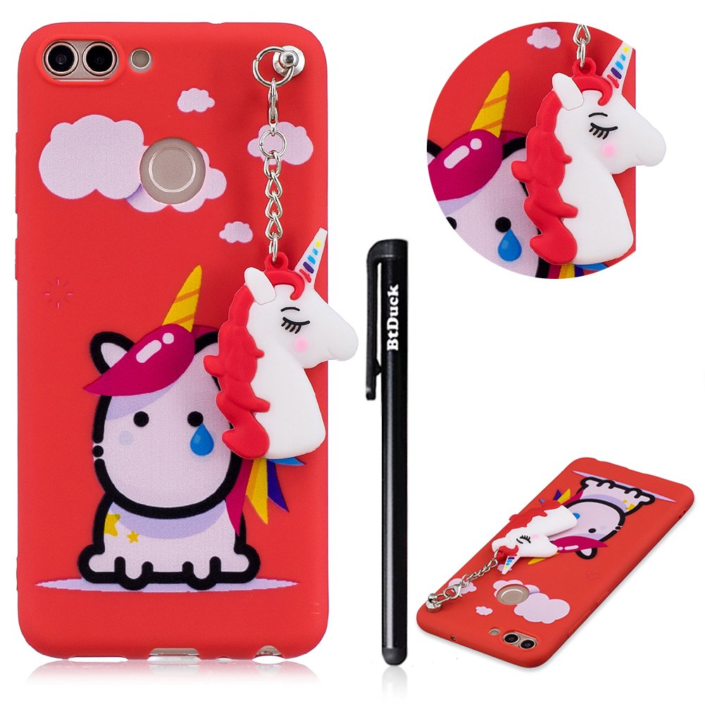 Case for HUAWEI P Smart,HUAWEI Enjoy 7S Phone Case Clear Transparent,BtDuck Silicone Case TPU Silicone Gel Soft Case Bumper Shockproof Back Cover Unicorn Pendant Design Ultra Phone Protective Cartoon Animals Phone Case Pattern Cover Slim Thin Rubber Case