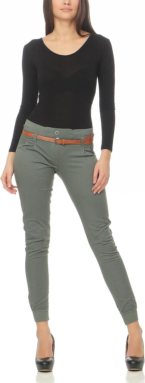 Malito Chino-Pantalones con Cintur/ón por imitaci/ón de Cuero Bombacho Pitillo Lady-Fit 5396 Mujer