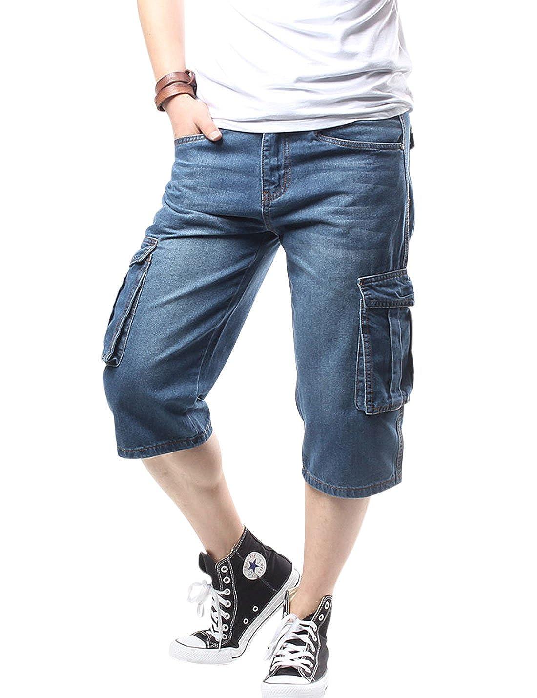 Yeokou Men's Casual Loose Hip Hop Denim Cropped Work Pants Cargo Shorts Jeans