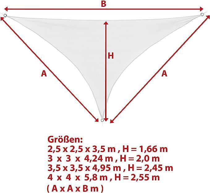 BB Sport Toldo Vela 2.5m x 2.5m x 3.5m Coco Triangular HDPE Vela Sombra Protección Rayos UV 90% Transpirable: Amazon.es: Jardín