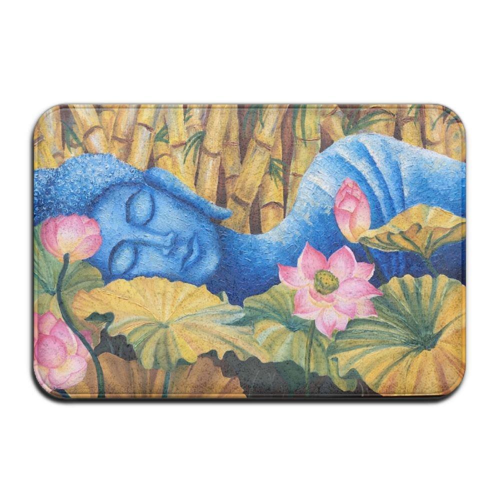 1 Piece Smart Dry Memory Foam Bath Kitchen Mat For Bathroom - Spa Decor Asian Buddha Lotus Zen Shower Spa Rug 18X36 Door Mats Home Decor With Non Slip Backing - 3 Sizes