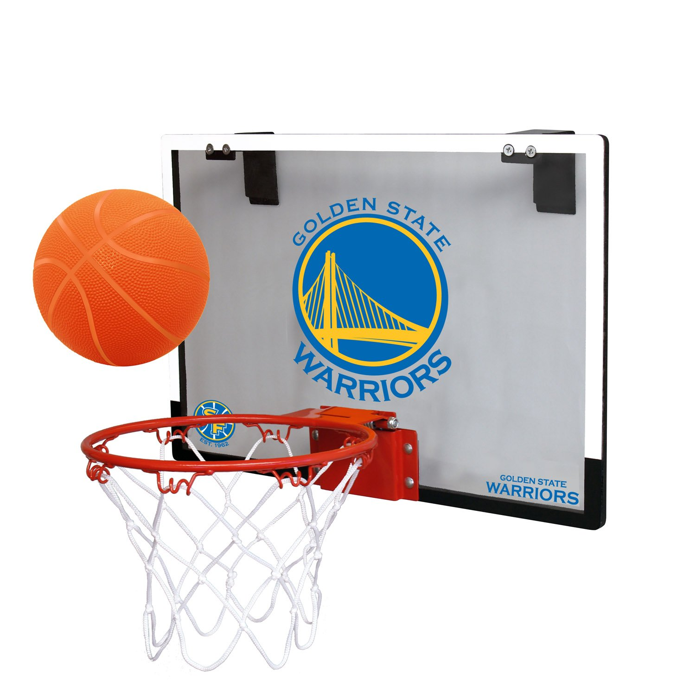 NBA Golden State Warriors Game On Indoor Basketball Hoop & Ball Set, Regular, Blue by RAWLINGS