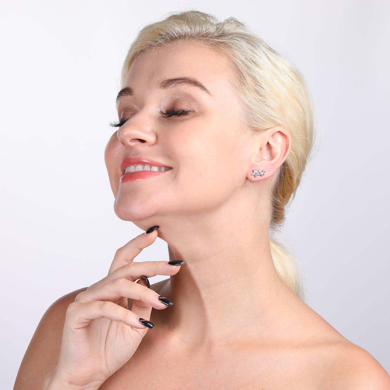per donne e ragazze Infinite U per orecchie stelle borchie in argento Sterling 925 orecchini con tre pentacoli