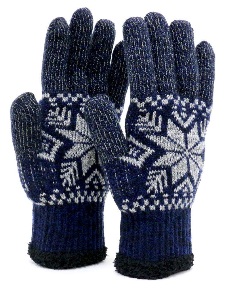 [ジーンズショップ マルカワ] 手袋 メンズ スマホ対応 スマートフォン対応 ニット 雪 柄