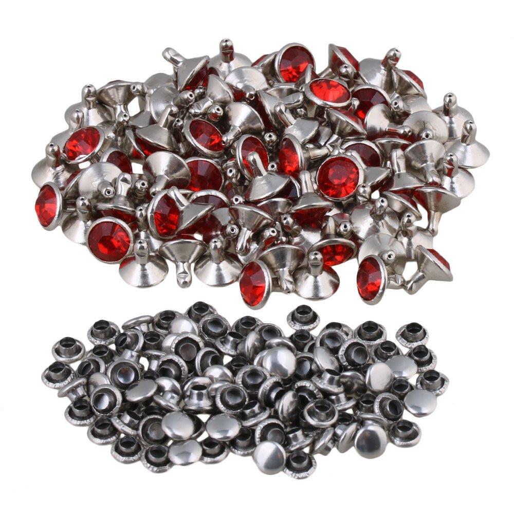 Yibuy 100 Remaches de Piedras de Imitació n Rojas y Transparentes, 9 mm, para Manualidades etfshop