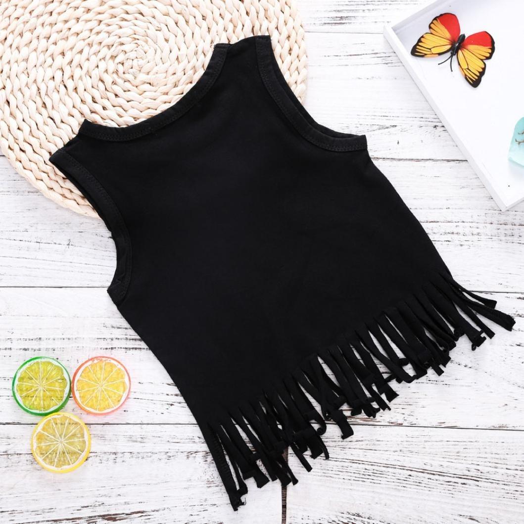 Willsa Toddler Girls Clothes Cotton Sleeveless Letter Print Tassel Tops Vest+Cute Pineapple Shorts Sets