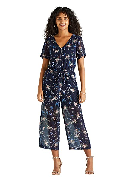 9315fe64efa Navy Floral And Dragonfly Printed Jumpsuit  Amazon.co.uk  Clothing