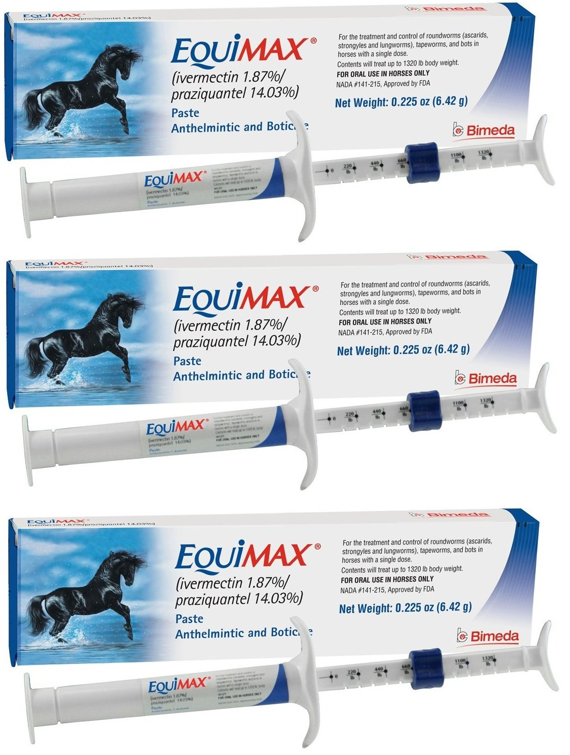 Equimax Horse Wormer Ivermectin 1.87% and Praziquantel 14.03% Paste Tube Bimeda