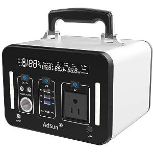 AdSun 500Wh AC出力500W ポータブル電源