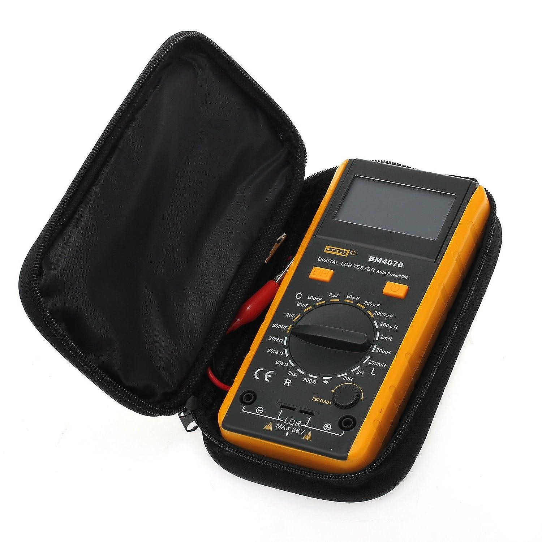 AUTOUTLET LCR Medidor de Capacitancia Autodescarga Medidor de Resistencia Inductancia Medidor Port/átil Digital LCR Tester pF nF /μF con bater/ía de 9 V y bolsa