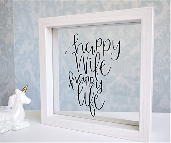 Happy Wife Happy Life. Funny Floating Glass Frame. Personalised ...