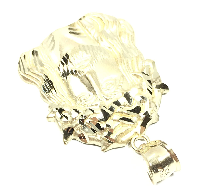 UNITEDEAL New 10K Yellow Gold 30 MM Long Jesus Head FACE Hip HOP Style Pendant 6179