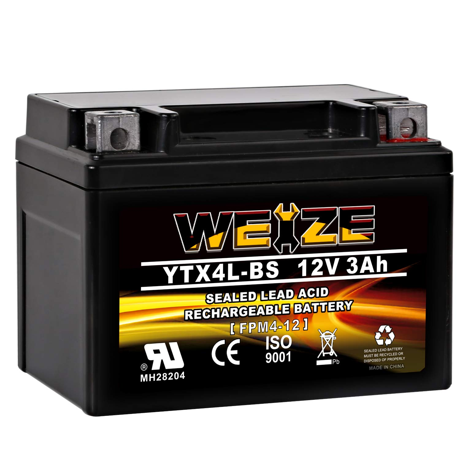 Weize YTX4L BS Motorcycle Battery ETX4L-BS High Performance - Rechargeable - Sealed AGM YTX4L-BS Scooter ATV Batteries Use For Honda Polaris Kawasaki Suzuki Yamaha by WEIZE