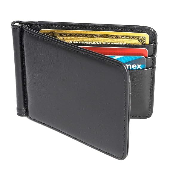 22ff3ff24 Vedicci Billetera de Piel Lisa Color Negro con Money Clip para Hombre /  Cartera de Piel para ...