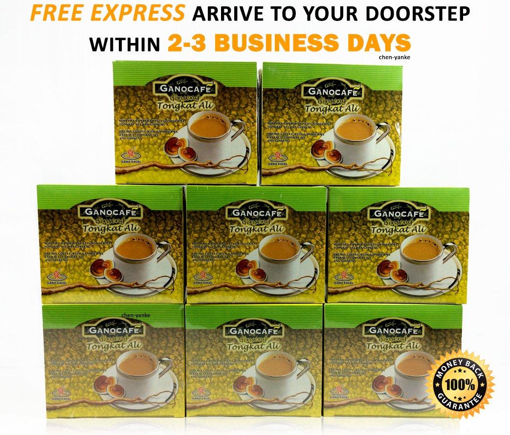 Gano Cafe - 8 Boxes (120 Sachets) Ganocafe Ginseng Tongkat Ali with Ganoderma Lucidum Extract + Free Express 2-3 Days
