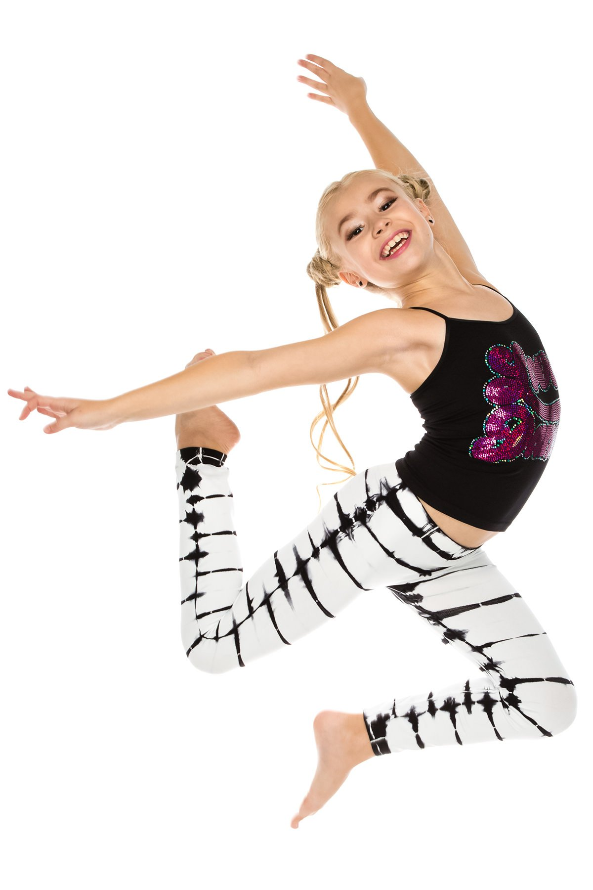 Kurve Kids 2-Piece Dance Outfit - One Size Age 4 To 9 - Made In USA- (Love Dance FS Tie Dye Set, One Size (4-9)) by Kurve (Image #4)