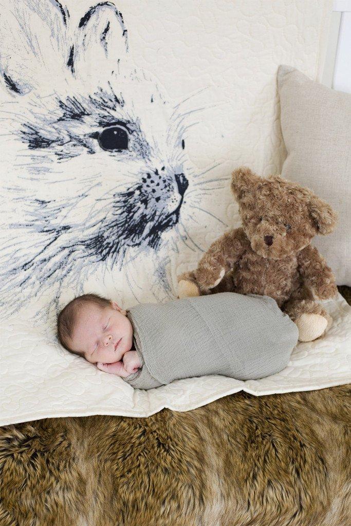 Bunny - Linen Crib Quilt Baby Bedding - 36x45