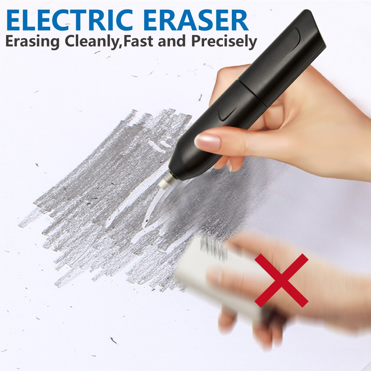 Electric Eraser Kit, LOVIN PRODUCT Automatic Portable Rubber Eraser with 20 Eraser Refills and 1 Eraser Brush, Battery Operated for Classroom, Office, School, Kids, Teachers, Artists. (2 PACK) by LOVIN PRODUCT (Image #1)