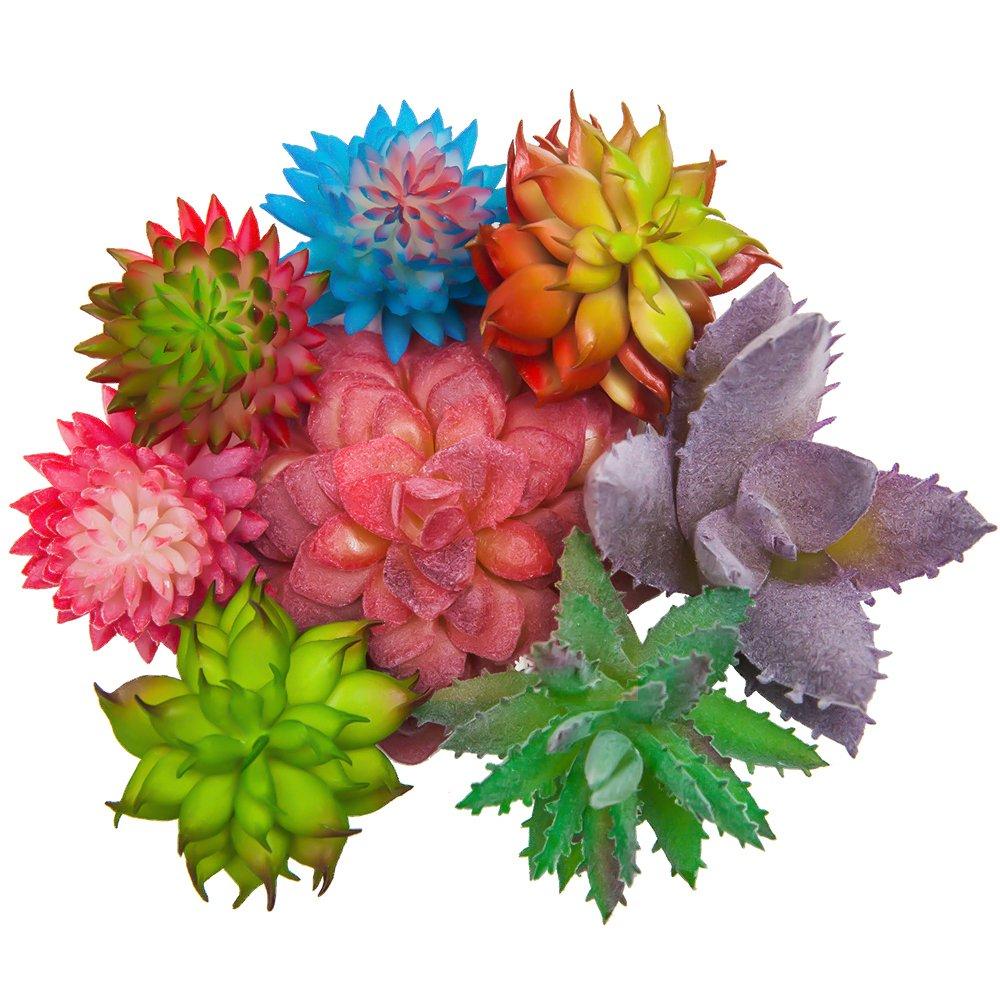 SUN-E 8 In Set Assorted Artificial Succulent Picks in Flocked for Plants DIY Materials Floral Arrangement