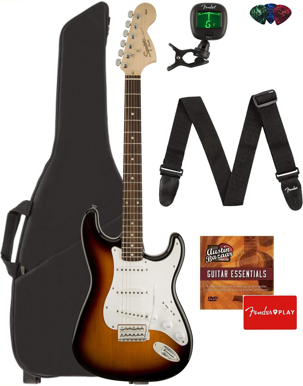 Fender Squier Affinity Series Stratocaster Guitar - Laurel Fingerboard, Brown Sunburst Bundle with Gig Bag, Tuner, Strap, Picks, and Austin Bazaar Instructional DVD