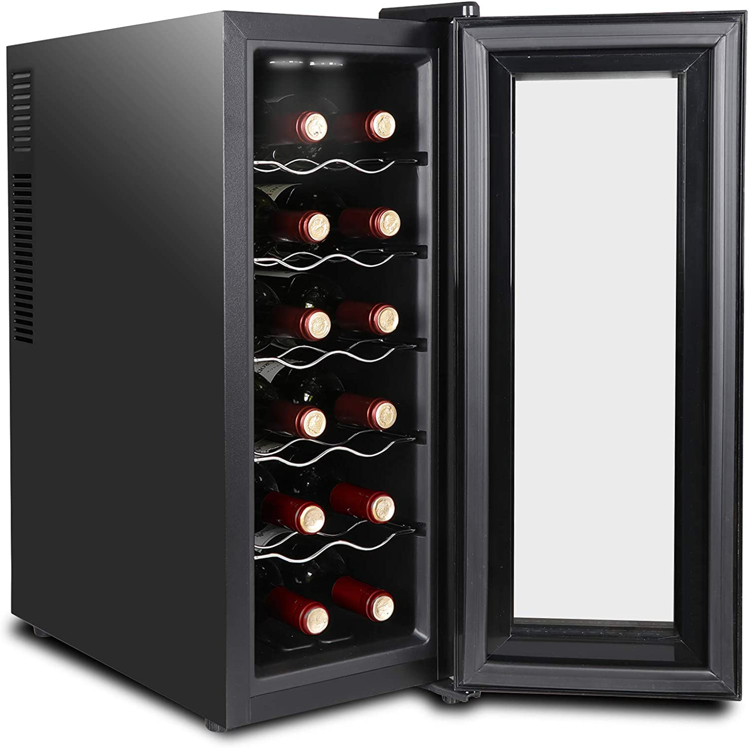 ZENSTYLE Thermoelectric Wine Cooler Chiller 12 Bottle Capacity Digital Control Panel Temperature Display Wine Cellar with Glass Door Quiet Operation Wine Refrigerator for Champagne Red and White Wine