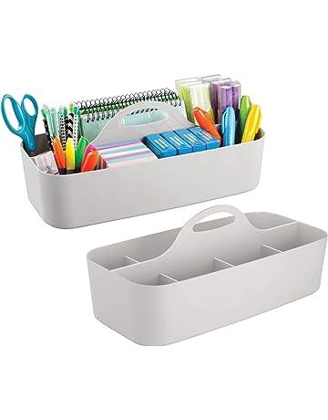 mDesign Juego de 2 organizadores de escritorio (grandes) – Fantástica cesta organizadora de plástico