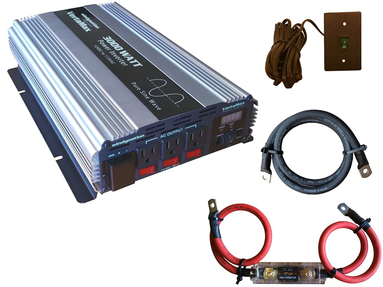 VertaMax PURE SINE WAVE 3000 Watt (6000W Surge) 12V Power Inverter DC to AC Power (1/0 Cables + Remote Control Switch + ANL Fuse) - Solar, RV