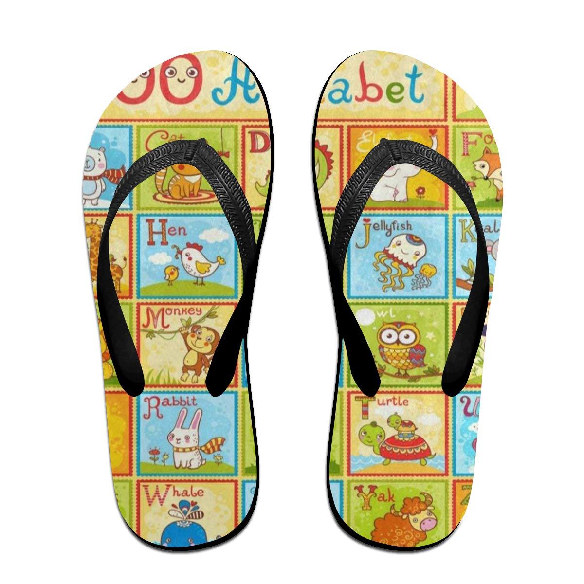 Ladninag Flip Flops Childrens English Animal Alphabet Womens Beach Slippers Brazil Sandals for Teen