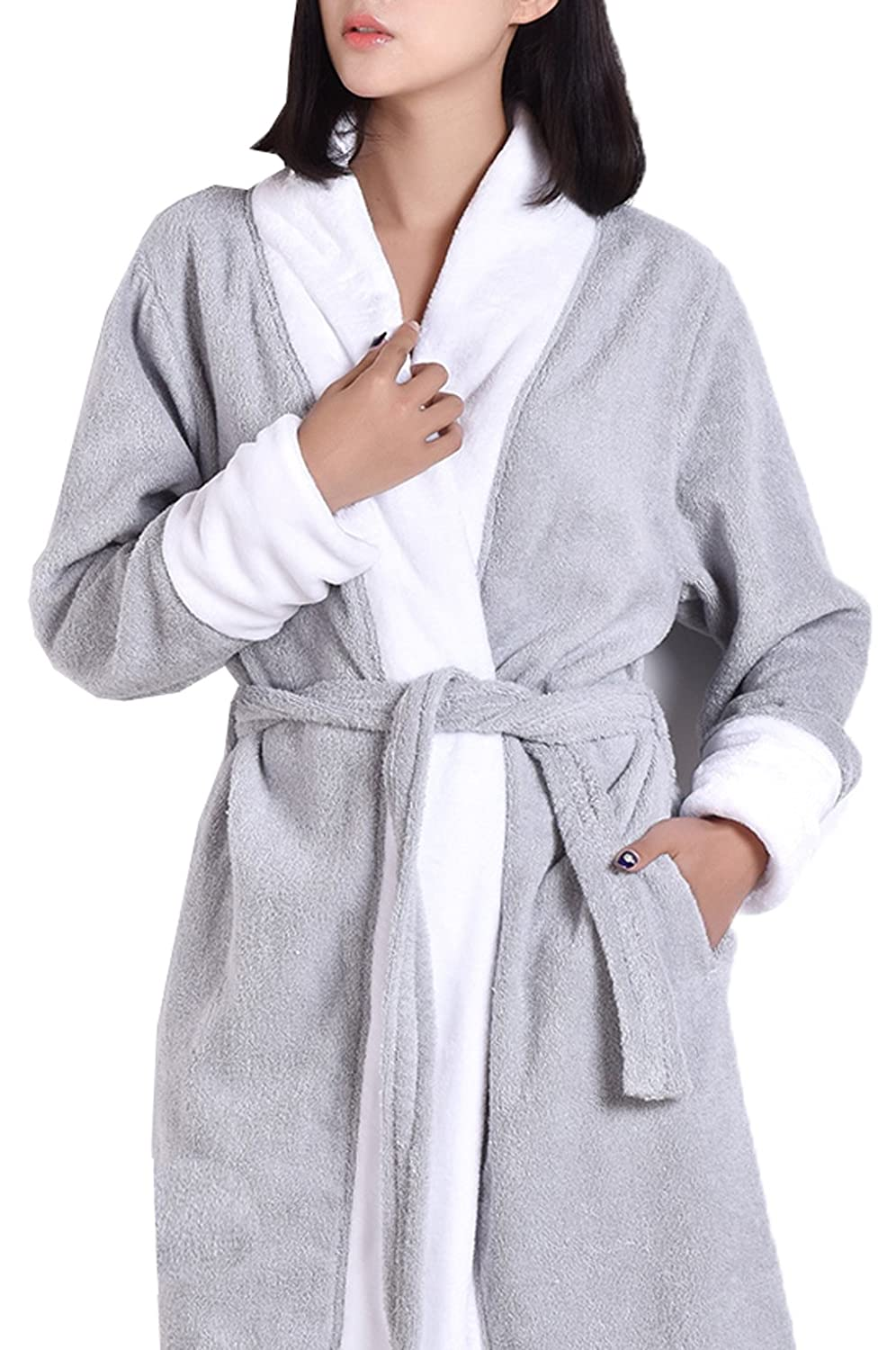 S.T.M Women's 100% Cotton Contrast Color Terry Cloth Robe Calf Length Cotton Robe