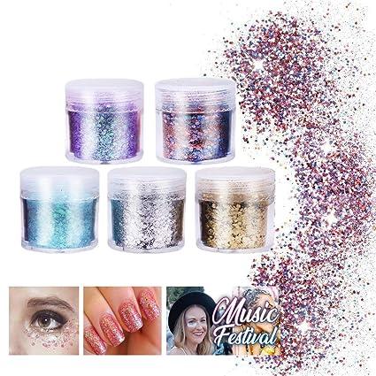 Flash Colorido de Glitter Powder 5 cajas, para uñas de gel,maquillaje para la