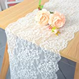 Pardecor Lace-Table-Runner White Embroidered 12x120-Inch 2 Pack Lace Table Runner Boho Vintage Classy Table Runner Design Eye