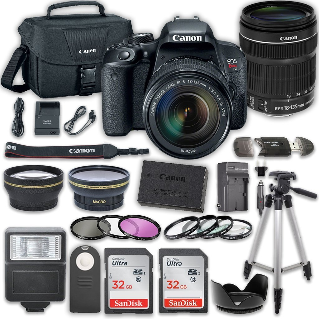 Canon EOS Rebel T7i DSLR Camera Bundle with Canon EF-S 18-135mm f/3.5-5.6 IS STM Lens + 2pc SanDisk 32GB Memory Cards + Accessory Kit