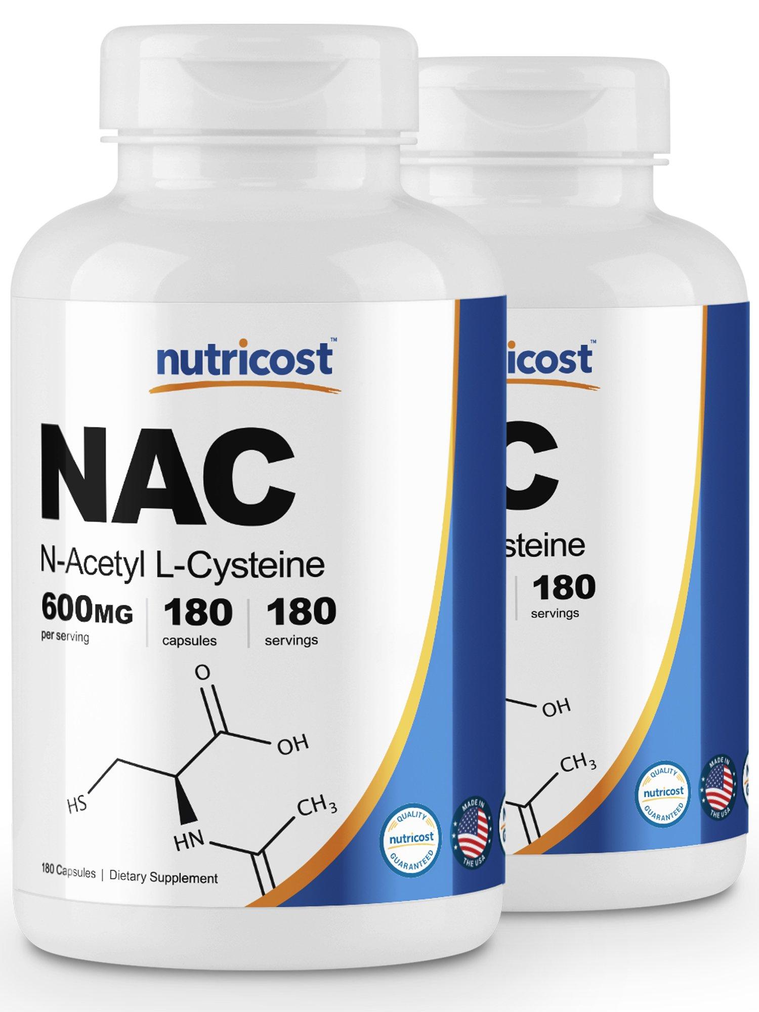 Nutricost N-Acetyl L-Cysteine (NAC) 600mg; 180 Caps (2 Bottles)