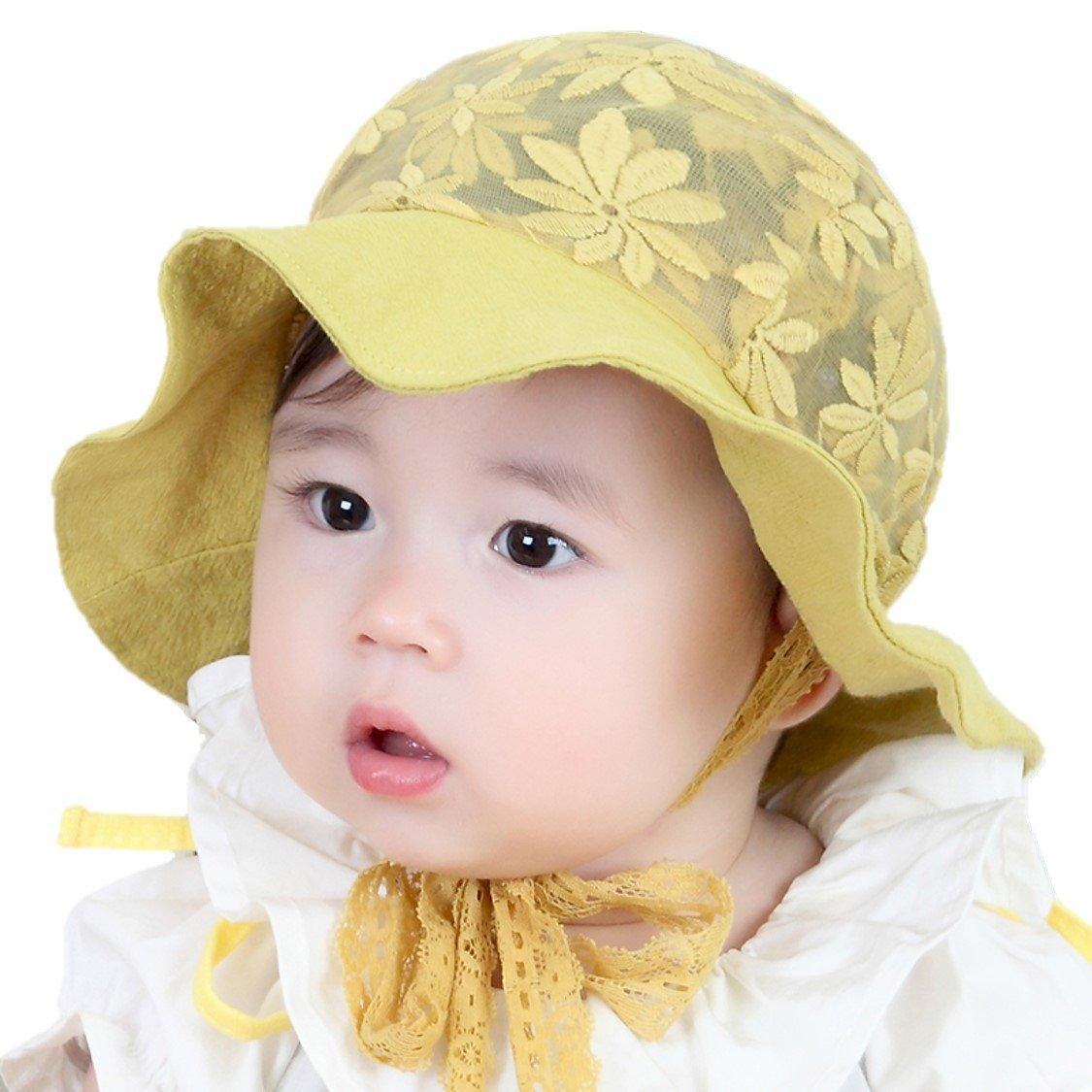b0295f5d4 iHomey Baby Toddler Girls Large Brim Sun Hat With Chin Strap Cotton ...