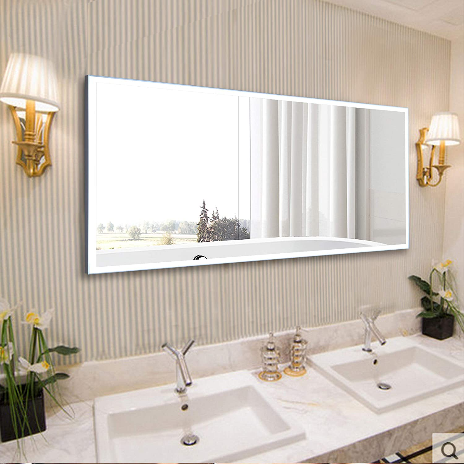 Vanity Art 60 Inch Rectangular Frameless LED Lighted Illuminated Bathroom Vanity Wall Mirror | Fog Dimmable Light with Touch Sensor Switch - VA3D-60