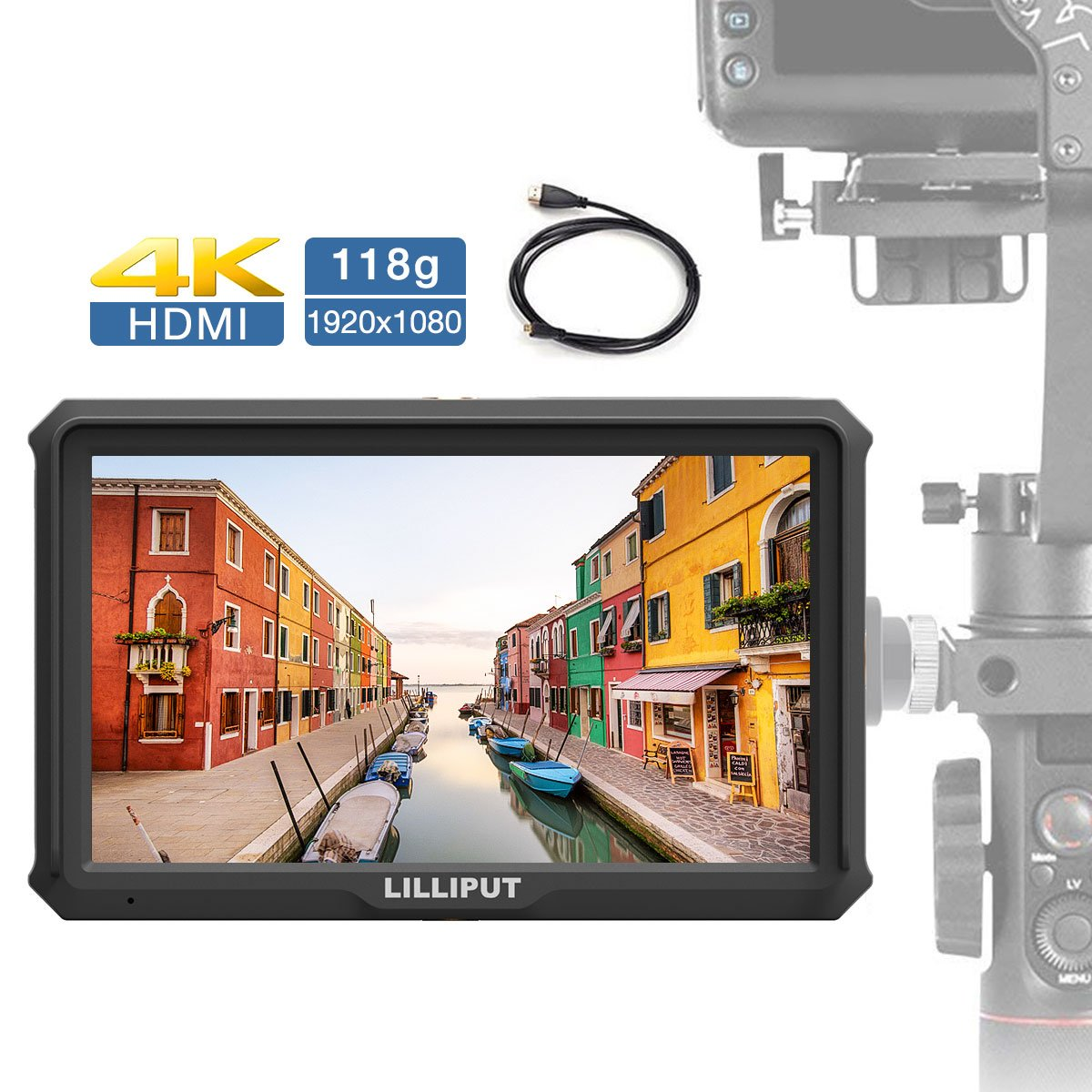 Lilliput A5, 5 inch on Camera Field Monitor Gimbal/Stabilizer Monitor 118g 1920x1080 IPS Camera-top Screen Supports 4K HDMI Input Output for Mirrorless Camera Sony A7S II Panasonic GH5 Canon 5D