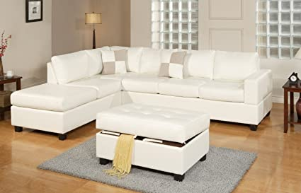 3 Piece Modern Bonded Leather Sectional Sofa Living Room Set with Ottoman -  Espresso, White (White)