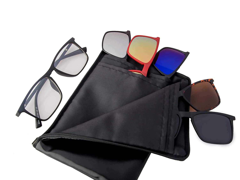 50dedcebe0 REACTR Unisex Polarised 5-in-1 Magnetic Clip on Sunglasses Plus Frame  (Black