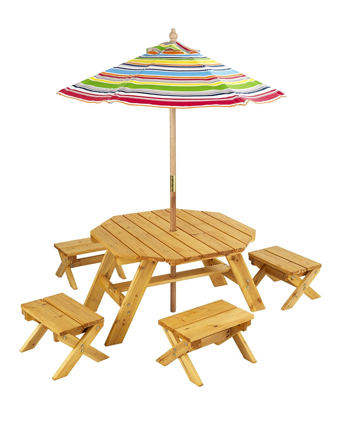 Amazon.com: KidKraft Octagon Table & 4 Stools and Multi-Striped ...