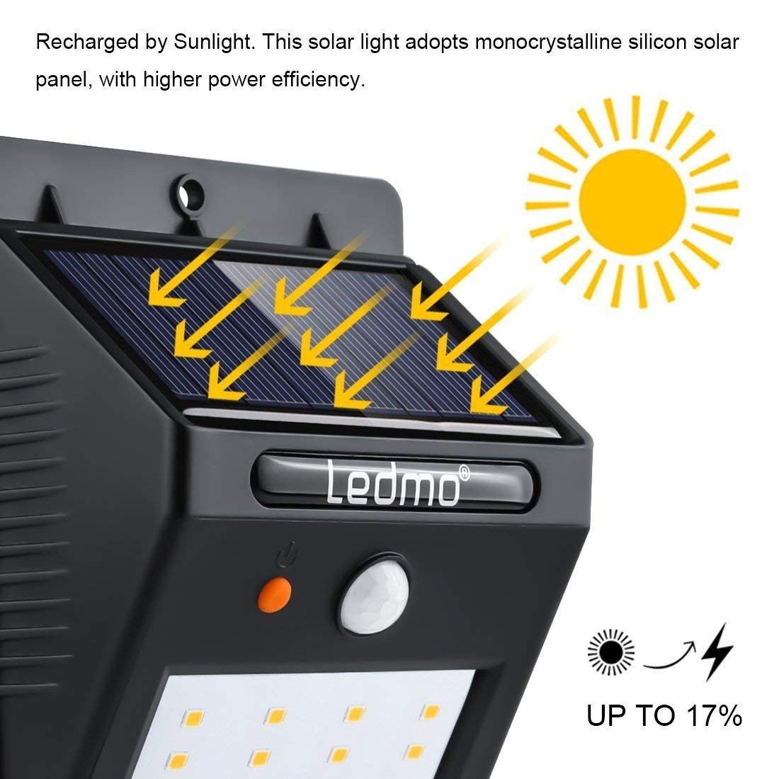 LEDMO Luces Solares 20 LEDs, blanco cálido 3000K PIR Sensor de movimiento y sensor ligero impermeable Luz de solar LED con modos inteligentes para la pared ...